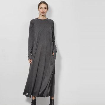 שמלת מקסי סווינג | אפור