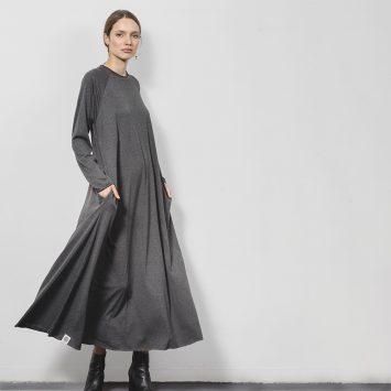 שמלת סווינג 100% כותנה | אפור