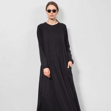 שמלת סווינג 100% כותנה 🖤| שחור