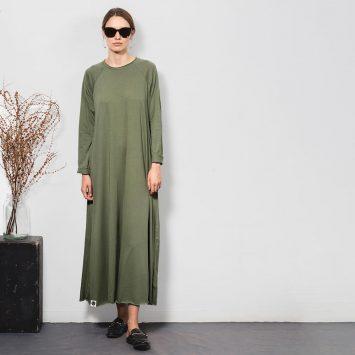 שמלת סווינג 100% כותנה | זית בהיר
