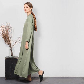 שמלת סווינג 100% כותנה | ירוק