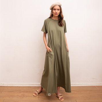 שמלת סווינג 100% כותנה | זית
