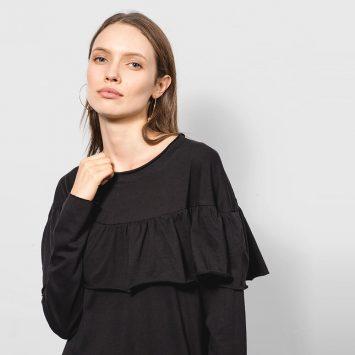 חדש!! שמלת מידי ראפל 100% כותנה | שחור