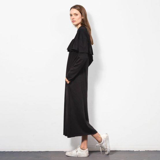שמלת מידי ראפל 100% כותנה | שחור