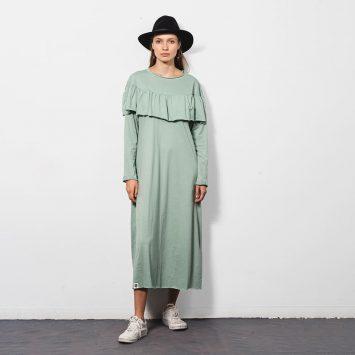 חדש!! שמלת מידי ראפל 100% כותנה | מנטה