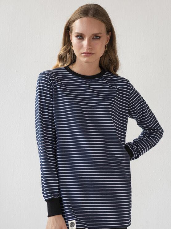 חולצת פסים כמו שצריך | כחול ארוך