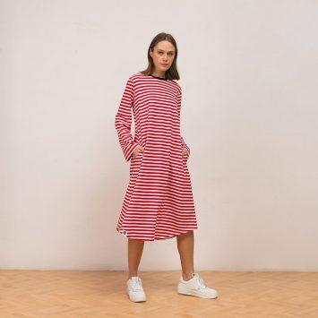 שמלת פסים מושלמת | אדום