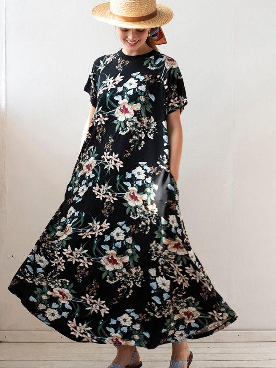 שמלת מקסי פרחונית   שחור 🌸