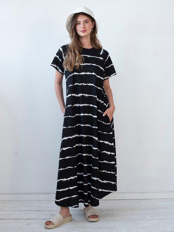 שמלת מקסי שיבורי | שחור