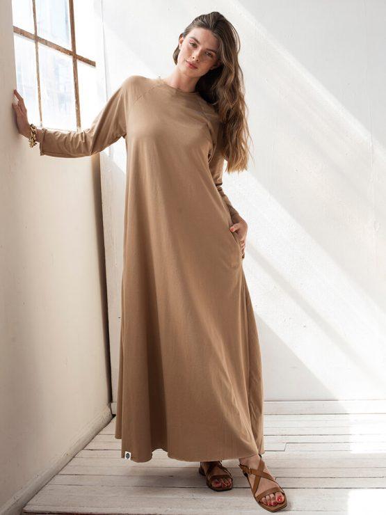 שמלת סווינג 100% כותנה | קאמל 3/4