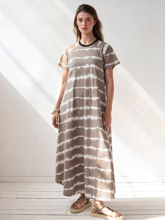 שמלת מקסי שיבורי | קאמל