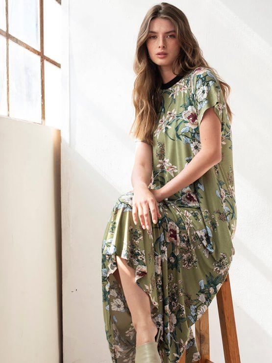 שמלת מקסי פרחונית   זית 🌸