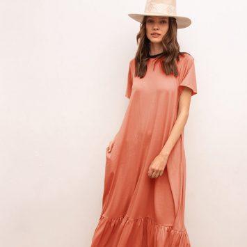 שמלת מקסי נף-נף | ורוד טרקוטה