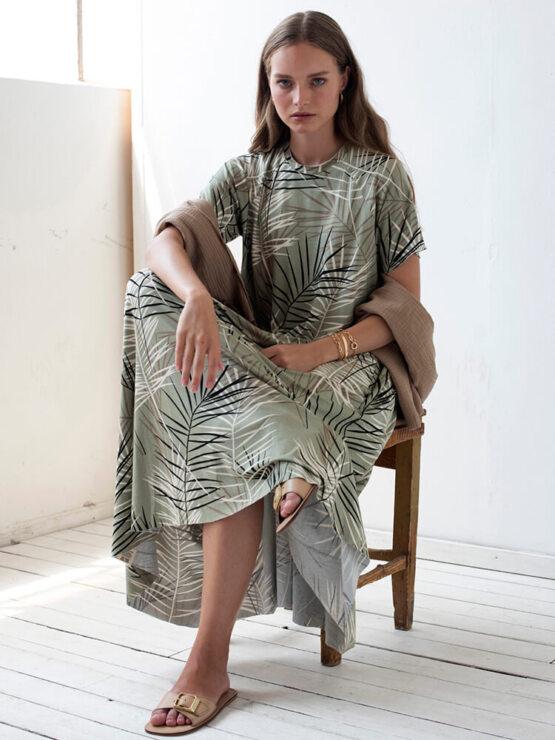שמלת סווינג ניו במבוק | זית