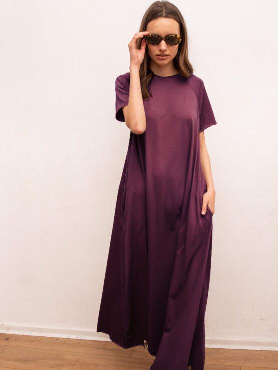 שמלת סווינג 100% כותנה | חציל
